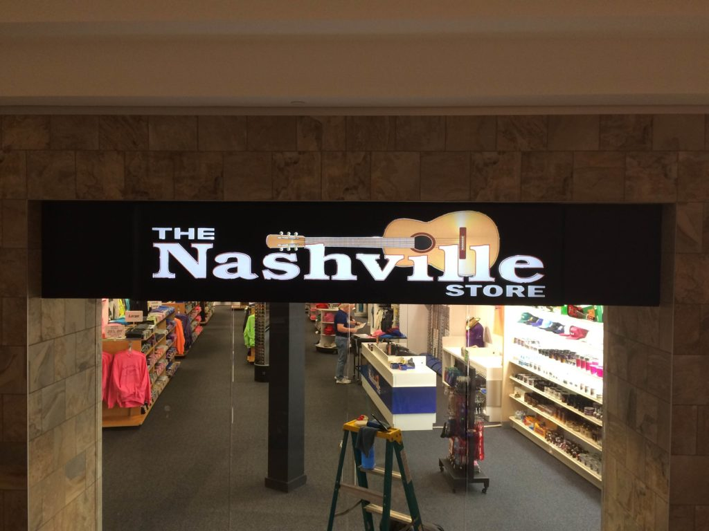 The Nashville Store, Opry Mills, Interior mall illuminated sign, designed, fabricated, installed by Adams Signs & Awnings