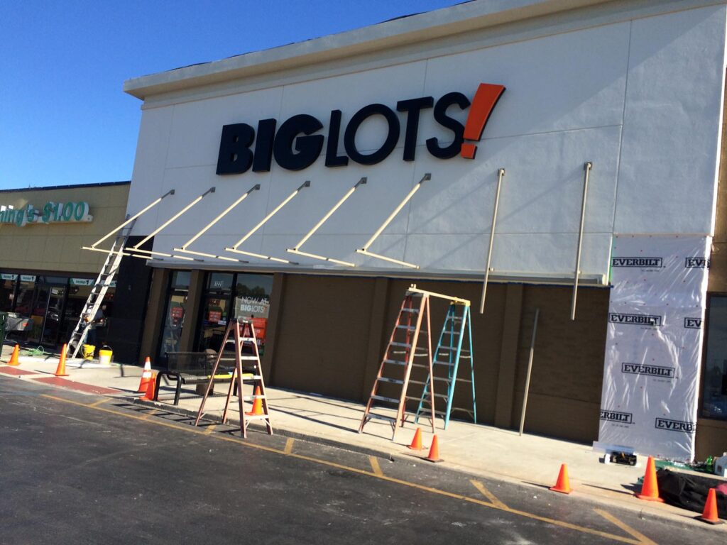Big Lots Awning Installation by Adams Signs & Awnings